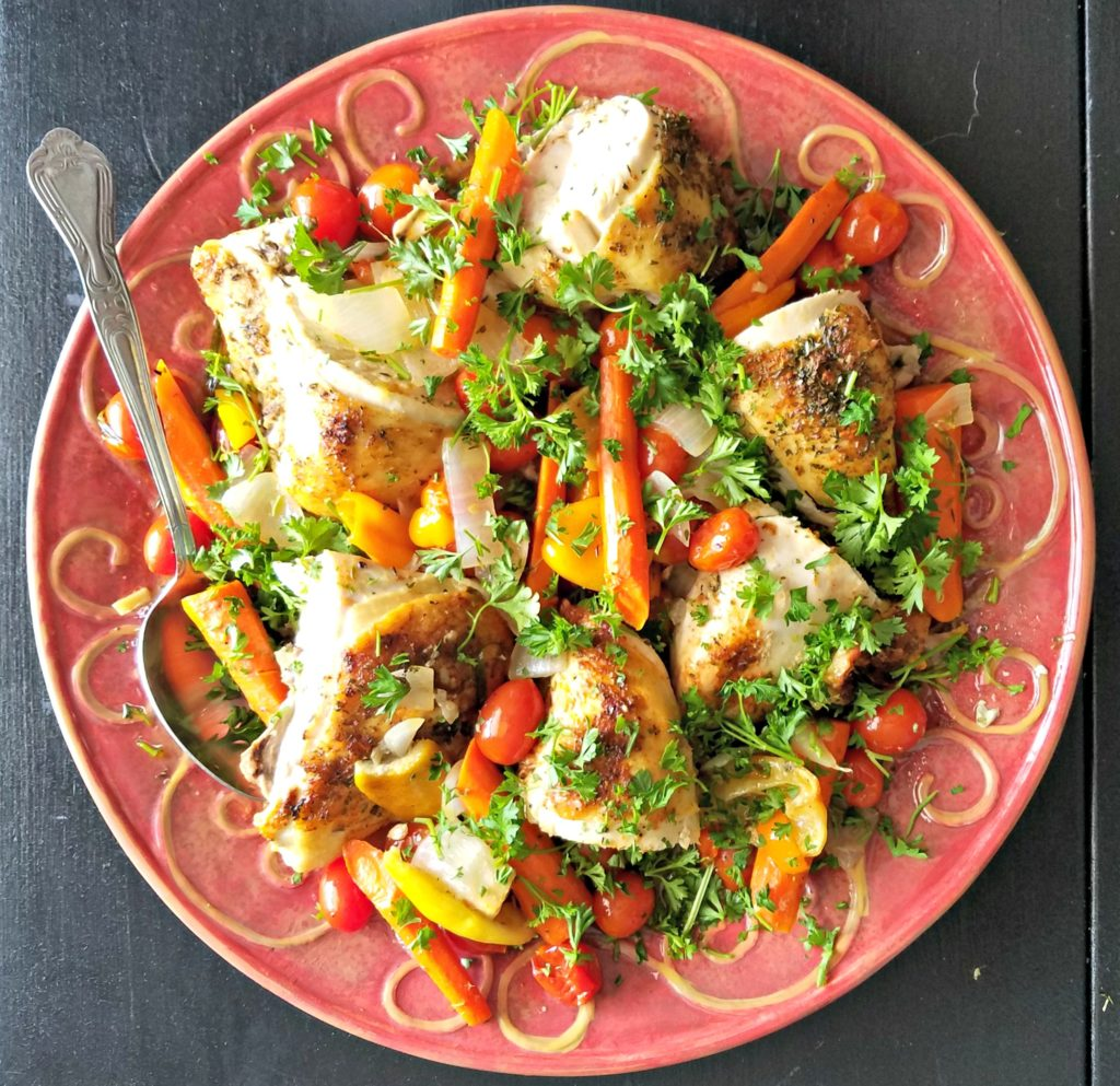Roasted Chicken Breasts With Vegetables And Herbs