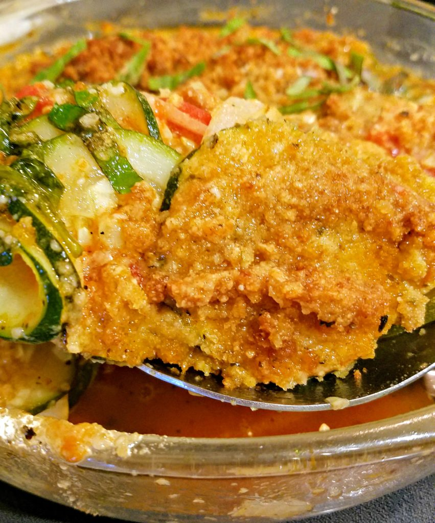 Zucchini Garden Vegetable Casserole With Crunchy Herb Topping